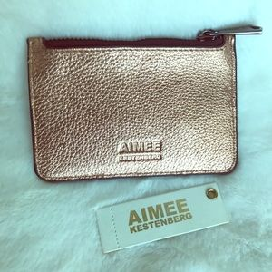 AIMEE leather rose gold Melbourne metallic wallet